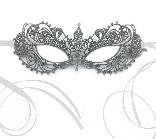 The Lace Mask Co. Máscara elegante de encaje Anastasia para baile de disfraces, baile de disfraces, máscara de carnaval de Halloween (Silver Thread With Organza Ribbon)