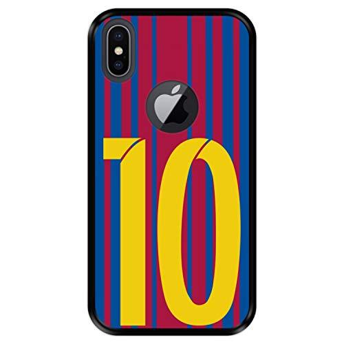 Hapdey Funda Negra para [ Apple iPhone X - XS ] diseño [ Ilustración fútbol, número 10 ] Carcasa Silicona Flexible TPU