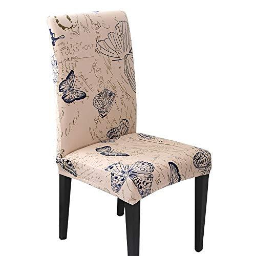 Hzdhclh Stuhlhussen, Stuhlbezüge, Schonbezug für Stühle, cremefarben, waschbar, weich für 4/6 Stück, elastische Montage, Regenwald / Dunkelblau, 4 PCS