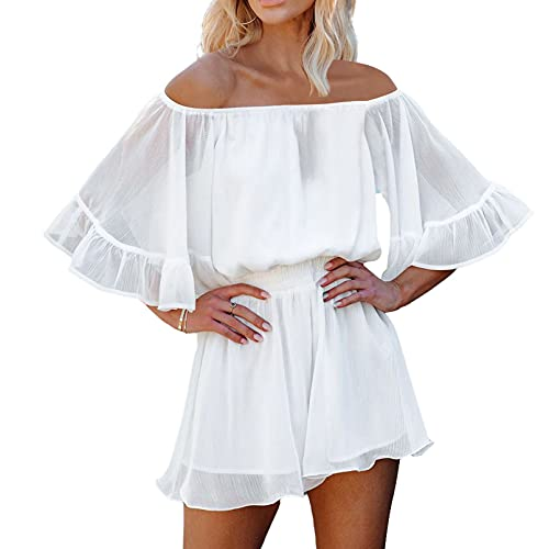 Fixmatti Off The Shoulder Summer Romper for Women Flare Sleeve Shorts Jumpsuit Outfit White M