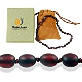 True Baltic Amber Necklace for Baby (Unisex - Raw Cherry - 12.5 Inches), 100% Authentic Baltic Amber Necklace