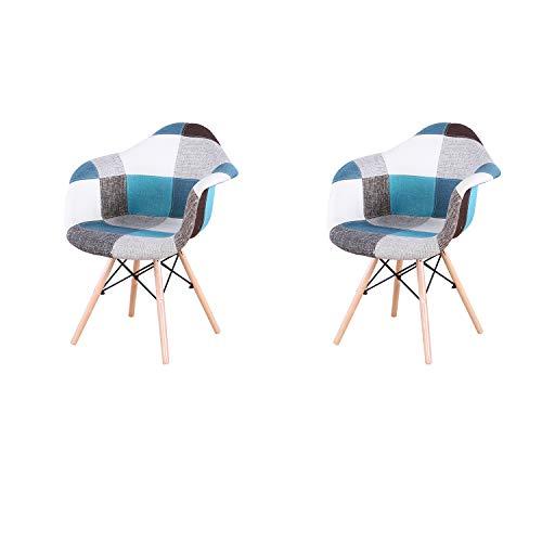 ArtDesign FR Lot de 2 Chaises de Salle à Manger avec Accoudoirs Housse en Tissu Patchwork pour Salle à Manger Bureau Salon (Blue)