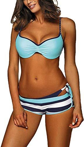 CheChury Mujer Conjuntos De Bikini Cuello Hálter Push up Trajes de Baño de Tres Piezas con Bañador Natacion Shorts Tangas Retorcido Bikini para Damas