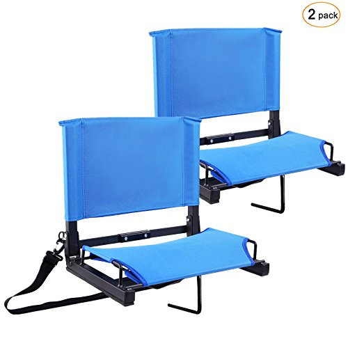 Ohuhu Stadium Chairs/Stadium Seats Bleacher Seats with Bungee Cord Cushion and Comfortable Backrest, Blue 2-Pack