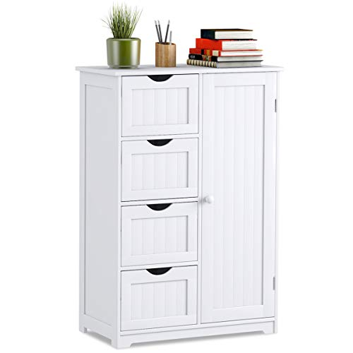 GIANTEX Kommode mit Schubladen, Sideboard Badschrank aus Holz, 4 Schubladen & verstellbare Regalebene, Beistellschrank Anrichte Highboard für Badezimmer Küche Flur, weiß