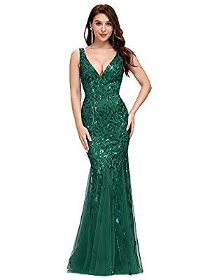 Women's Double V-Neck Sleeveless Mermaid Dress Evening Bridesmaid Dress Green US18