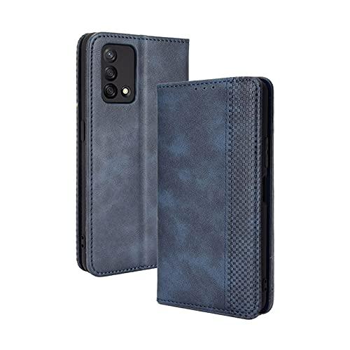 GOKEN Leder Folio Hülle für Oppo A74 4G, Lederhülle Brieftasche Mit Kartensteckplätzen, Premium Flip PU/TPU Handyhülle Schutzhülle Hülle Cover mit Ständer Funktion (Blau)