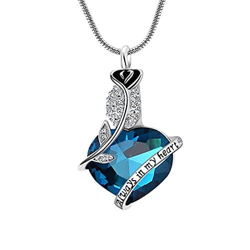 Epinki Collar de Cremación, Acero Inoxidable Collar Always In My Heart Flor de Rosa Azul con Circonita Joyas Memorial
