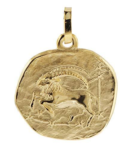 trendor Sternzeichen-Anhänger Steinbock 585 Gold 16 mm Gold Anhänger Sternzeichen für Damen, Herren und Kinder, Sternzeichen Echtgold, Anhänger Gold, 08958