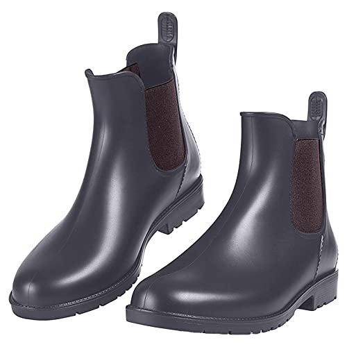 seanxw Women Rain Boots Motorcycle Riding Ankle Short Boots Ladies Elastic Solid Waterproof Anti-Slip Low Shoes Booties