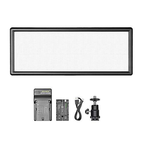Neewer Super dünne zweifarbige dimmbare LED Videoleuchte mit LCD-Display, 2600mAh Li-Ionen-Akku und Ladegerät - Ultra Hohe Leistung LED-Feld, 3200K-5500K für Studio Portrait Video Fotografie