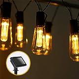 Aigostar - Guirnalda de luz LED solar, 3,8 metros, luz cálida 2700-3000K, 10 bombillas LED vintage tipo Edison.Protección IP44 impermeables, para exterior. Luces LED decorativas para jardín o fiestas