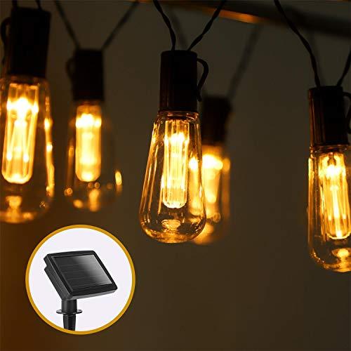 Aigostar - Guirnalda de luz LED solar, 3,8 metros, luz cálida 2700-3000K,...