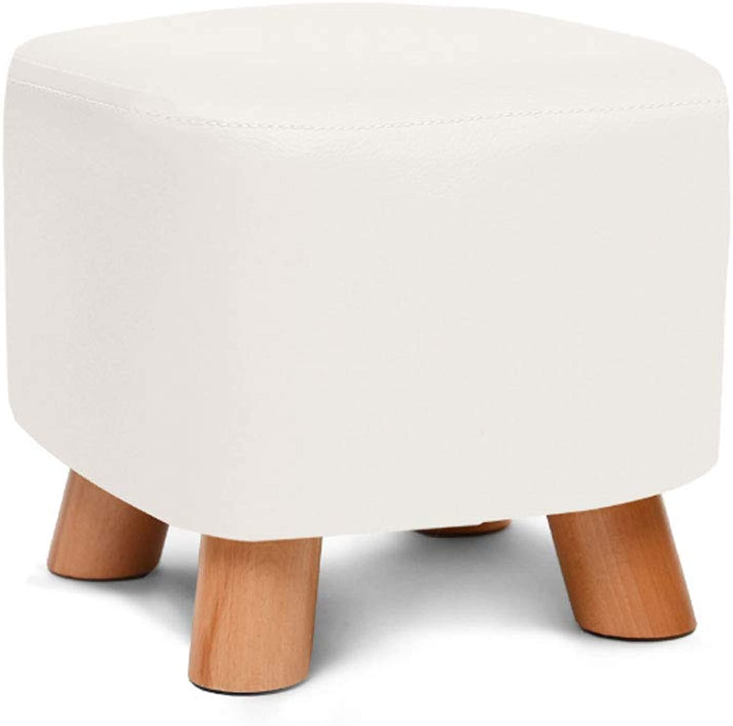 ZXW STOOLS- Solid Wood shoes Stool Creative Square Stool Fabric Stool Sofa Stool Coffee Table Stool Home Stool (color   White, Size   28x28x25cm)