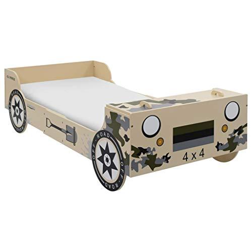 N/O Viel Spaß beim Einkaufen mit Kinderbett im Geländewagen-Design 90×200 cm Camouflage