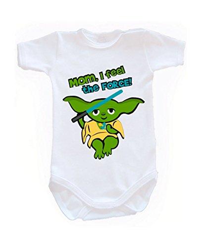 Couleur Mode bébé Yoda bodies à manches courtes 100% coton Petit bébé – 24 mois – 0012 blanc 0-3 months, 62 cm