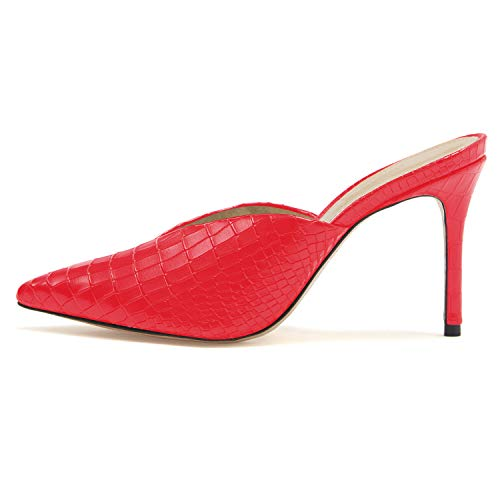 MOCORALS Red Animal Print 4 Inch High Heel Stiletto Pointed Toe Matte Slip On Plain Slides for Women Cheap Bed STU Sandals for Women 7.5 Size 7