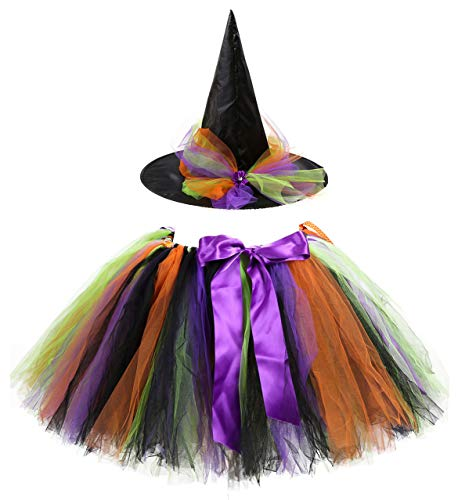 Kiniris Kostüm Halloween Hexe Tutu Kind Mädchen/Damen Rock Tüll Bunte Fliege Kostüm Mit Kapuze Schwarz Cosplay (Lila, Erwachsener)