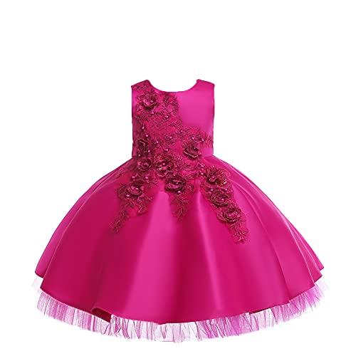 WAWALI Flores Bordado Niñas Vestidos De Boda Formal Fiesta Desfile Princesa Floral Vestidos De Baile Vestidos De Baile