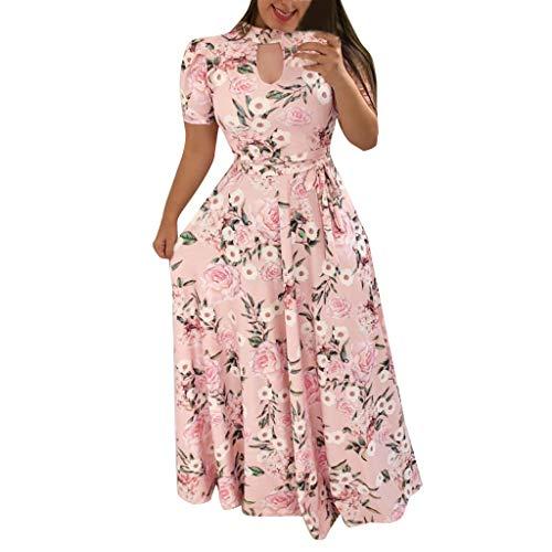 LOPILY Damen Abendkleid Große Größen Sadin V-Ausschnitt Cocktail Kleid Hohe Taillen Chiffonkleid Übergrößen Festliche Kleider für Damen Große Größen Kleid für Hochzeit Gast (Rosa, DE-42/CN-3XL)