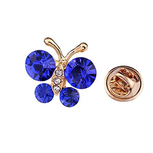 Reizteko Brooch Pin Elegant Butterfly Scarf Pin Lapel Brooch Button Hat Pin for Women's Jewelry (Blue)