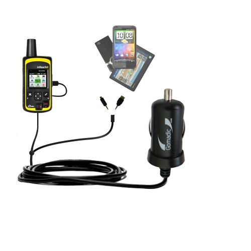 Double Port Micro Gomadic Car/Auto DC Charger Suitable for The Delorme inReach SE - Charges up to 2 Devices simultaneously with Gomadic TipExchange Technology