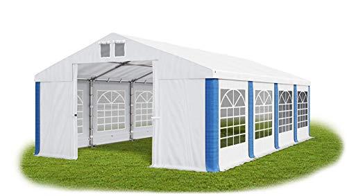 Das Company Partyzelt 6x8m wasserdicht weiß-blau Zelt 560g/m² PVC Plane ganzjährig Gartenzelt Winter ISD