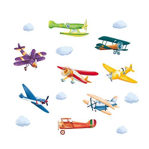 ufengke Pegatinas de Pared Avión Colorido Vinilos Adhesivas Pared Aeronave Biplano para Dormitorio Habitación Infantiles Niños Sala de Estar