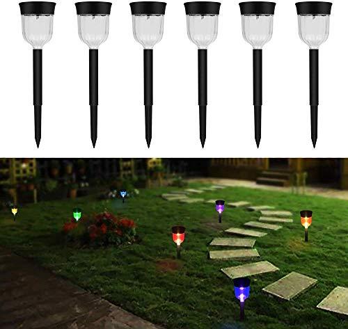 WYZXR Luces solares al aire libre, paquete de 6 luces solares para camino, luces de jardín al aire libre, iluminación de paisaje para césped, patio, entrada, pasarela, 7 colores cambiantes
