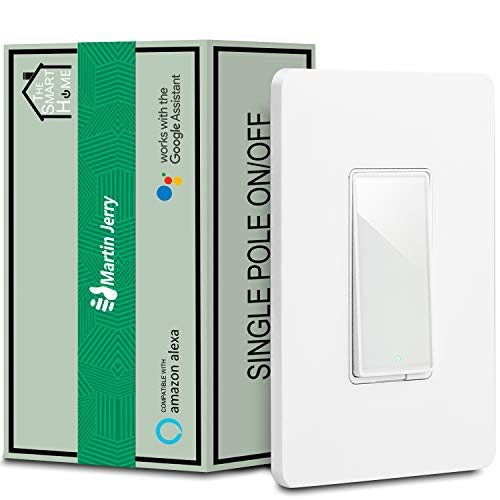 Smart Switch by Martin Jerry, 1-Pack Single Pole, Smart Home Devices That Work with Alexa, 2.4G WiFi, Need Neutral Wire