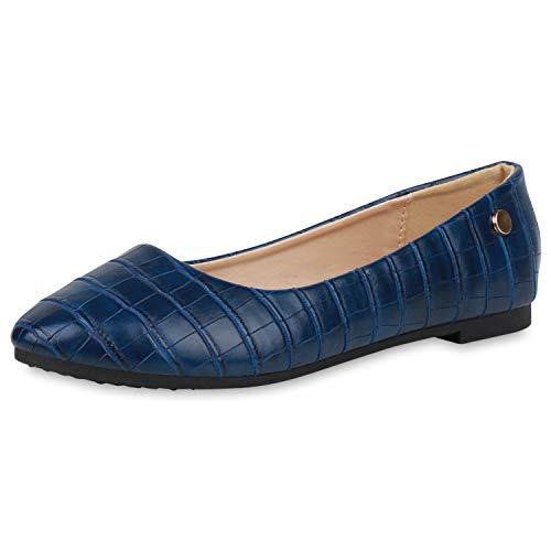 SCARPE VITA Damen Klassische Ballerinas Kroko-Optik Slip On Schuhe Flats Freizeitschuhe Slipper Schlupfschuhe 191482 Marineblau Kroko 38