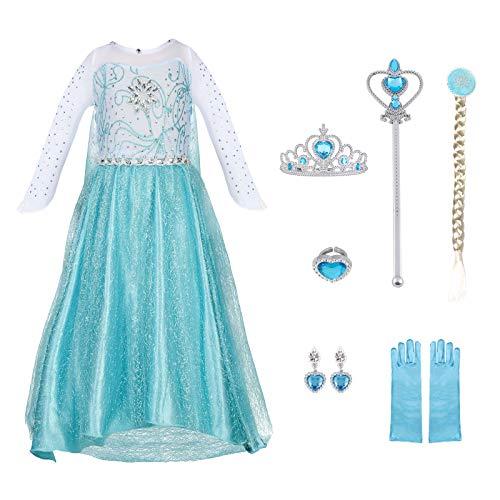URAQT Vestido de Elsa, Disfraz de Princesa Elsa con Varita Corona Accesorios, Vestido de Cosplay de Niñas para Carnaval, Halloween y la Fiesta de Cumpleaños