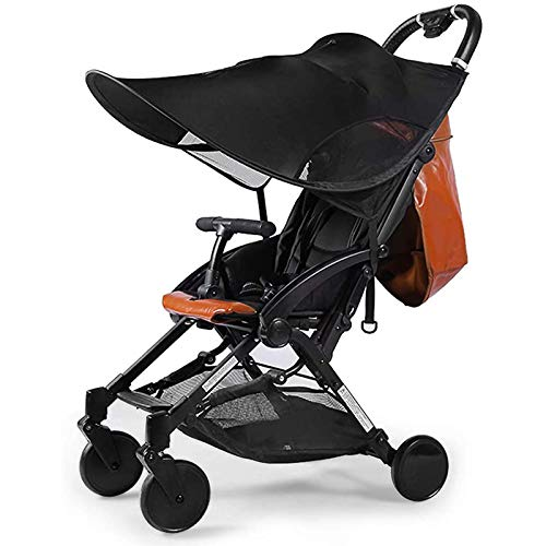 ADESUGATA Universal Stroller Sun Shade - Baby Stroller Sun Cover, Summer Pram Sunshade Awning Adjustable with UV Protection and Mosquito Net for Pushchair, Buggy, Carrycot (Black)