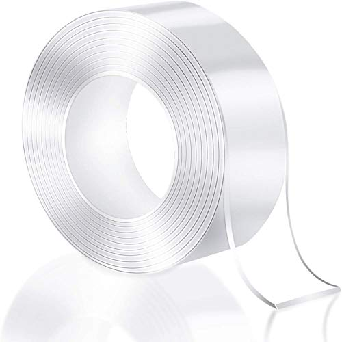 VJK Double Sided Tape,Double Sided Mounting Tape,Washable Reusable Traceless Strong Sticky Strips Gel Grip Tape,Carpet Tape,Two Sided Tape,Nano Tape for no Damage Wall Hangers Without Nails
