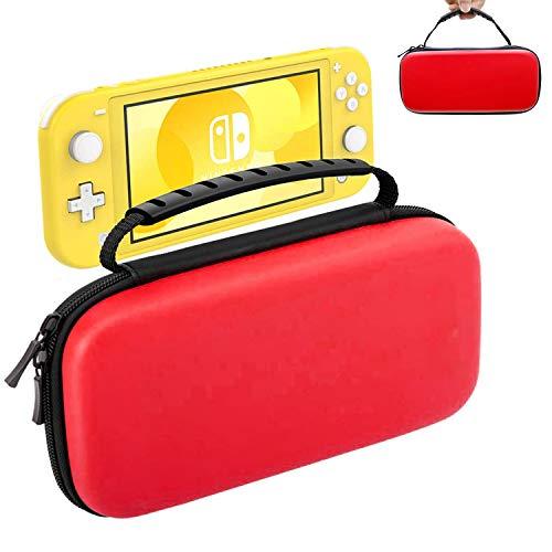 Oihxse Beschermhoes voor Nintendo Switch Lite, draagbare harde schaal, EVA-beschermhoes, met ritssluiting, duurzaam, schokbestendig, waterdicht, accessoires voor 10 speelkaarten, SD-kaarten voor Switch Lite (rood)