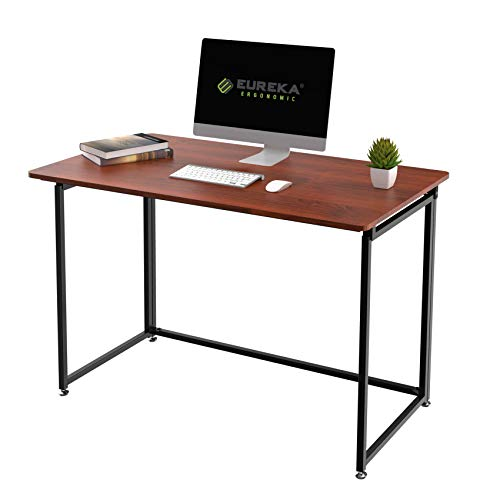 EUREKA ERGONOMIC Modern Folding Computer Desk Teen Student Dorm Study Desks 43-inch Fold up Desk, Easy to be Folded or Unfolded for Writing, Laptop Working and Crafting, Fits Home Office, Cherry