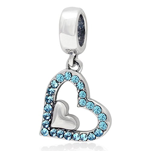 Charm a forma di cuore, in argento Sterling 925, con ciondolo a forma di cuore, per braccialetti Pandora (azzurro)