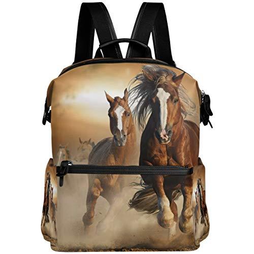 Oarencol - Mochila escolar con diseño de caballo, color marrón