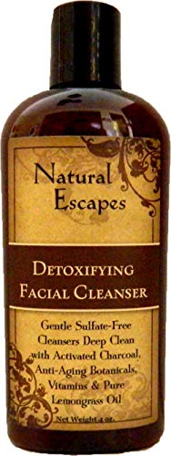 Natural Escapes | Lemongrass Detoxifying Daily Facial Cleanser w/ Activated Charcoal | Antioxidant & Anti-Aging Cleanser for Velvety Soft & Smooth Skin | Sulfate-Free Face Wash | 4oz