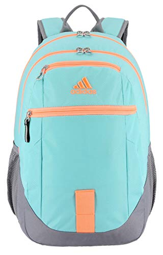 adidas Unisex Foundation Backpack, Energy Aqua/Grey/Flash Orange, ONE SIZE