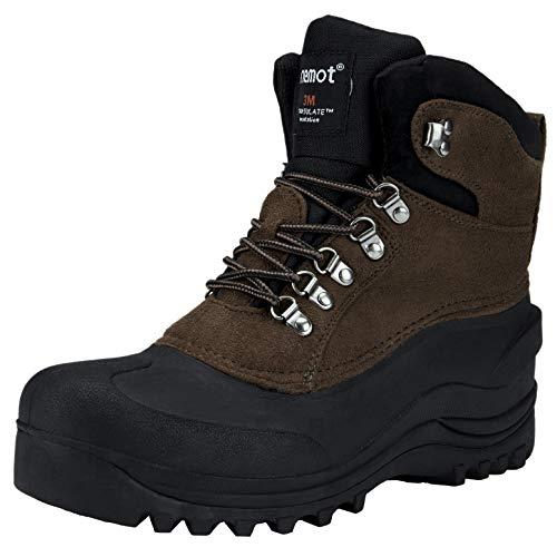 riemot Śniegowce męskie kobiety, damskie buty zimowe, wodoodporne antypoślizgowe buty outdoorowe do wędrówek trekkingu chodzenia wspinaczki, strzelania, mucker i podwórza, męskie buty rowerowe, - Brązowy - 42 EU