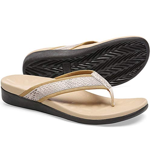 Plantar Fasciitis Flip Flops for Women, Best Orthopeic Flip Flop Sandals with Arch Support, Comfort Cushioned Thong Sandals for Walking size 8