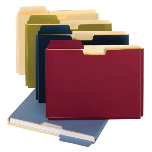 Globe-Weis/Pendaflex File Folder Pockets, 150 Sheet Capacity, Letter Size, Double Top, 1/3 Cut Tabs, Assorted Colors, 10 Pack (FP153L10 ASST)