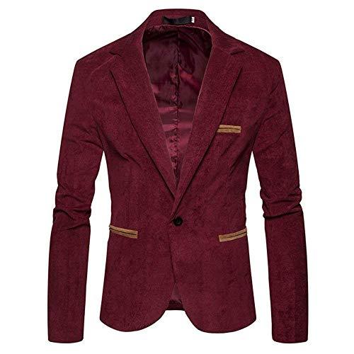 HaiDean Herren Kord Sakko Männer Anzugjacken 1 Sakko Knopf Modernas Lässig Slim Fit Outerwear Mantel Casual Jacke Freizeitsakkos (Color : Rot, Size : S)
