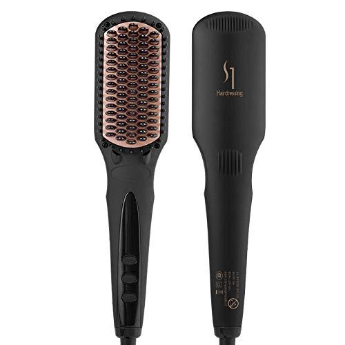 Peine para alisar el cabello con iones negativos para niñas con flequillo interno, artefacto para alisar el cabello esponjoso, peine eléctrico conveniente de doble uso-negro