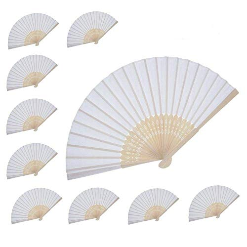 Women Hand Held Folding silk Fan Wedding Party Favor fan 10 pcs (White silk fan) WEN FEIYU