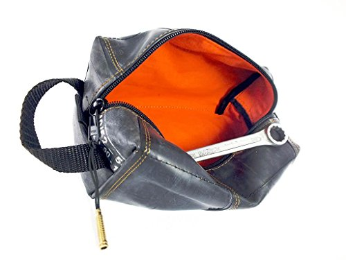 KULTURBEUTEL VEGAN in Vielen Farben | Kosmetiktasche | Hängende Tasche | aus Umweltfreundlichem Recyceltem Fahrradschlauch | Extra Weich (Orange/Orange, Groß/Large)