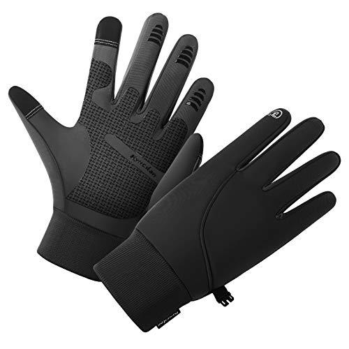 Guantes de invierno para hombre, impermeables, térmicos, para correr en clima frío, para hombres y mujeres, pantalla táctil, guantes de invierno para correr, ciclismo,...