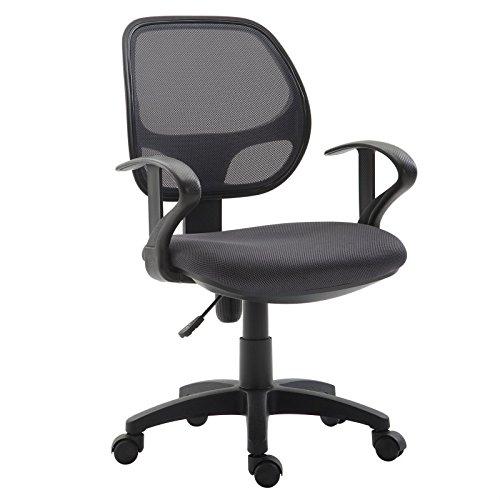 IDIMEX Kinderdrehstuhl Schreibtischstuhl Drehstuhl Bürodrehstuhl COOL, 5 Doppelrollen, Sitzpolsterung, Armlehnen, in grau