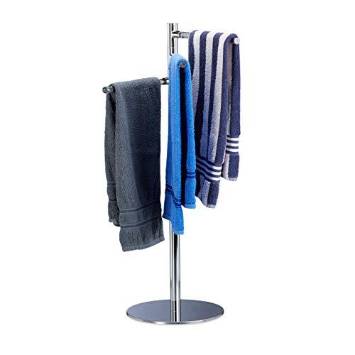 Relaxdays Handtuchhalter freistehend, Handtuchständer mit 3 schwenkbaren Armen, Edelstahl, HxBxT: 90x52x30,5cm, silber